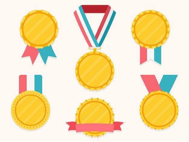 Conjunto de medalhas diferentes com fitas