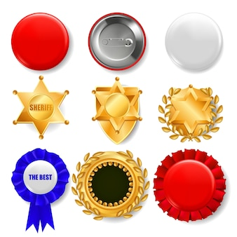 Conjunto de medalhas, distintivos de pinos e escudos