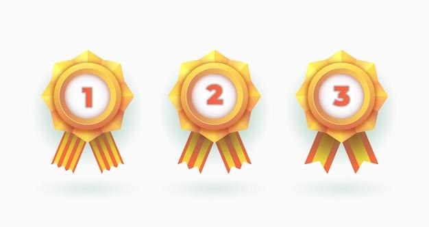 Conjunto de medalhas dos campeões do emblema do vencedor