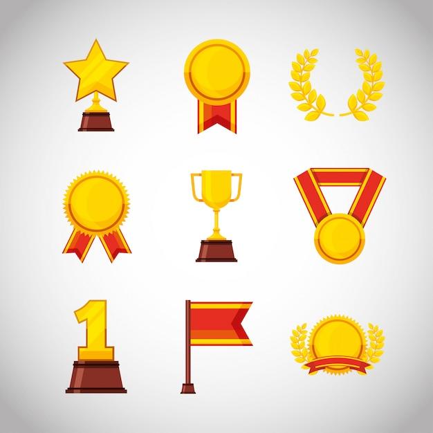 Conjunto de medalhas e troféu prêmios conjunto