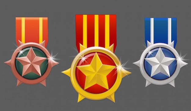 Conjunto de medalhas militares de vetor com estrela