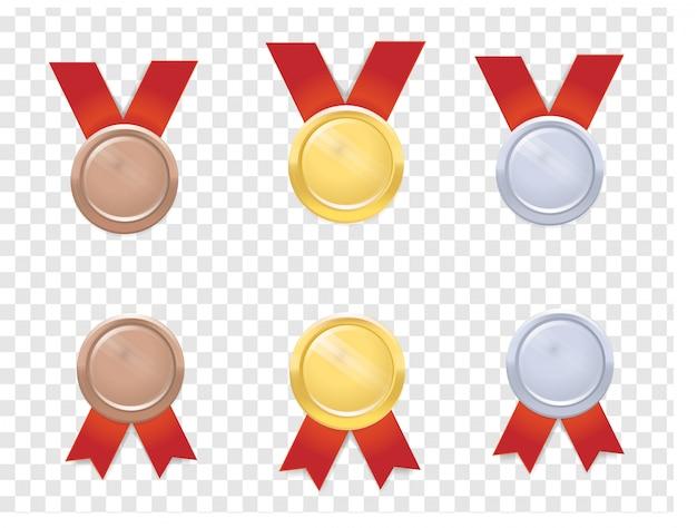 Conjunto de medalhas realista vector