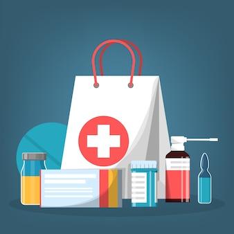 Conjunto de medicação. recolha de medicamento de farmácia em frasco
