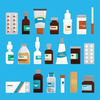 Conjunto de medicamentos. coleção de medicamentos de farmácia em garrafa.