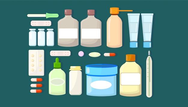 Conjunto de medicamentos de drogas.