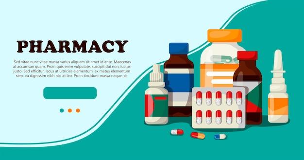 Conjunto de medicamentos para farmácias hospitalares com rótulos banner para um site com itens médicos