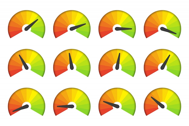 Conjunto de medição de ícones do velocímetro em um fundo branco