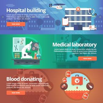 Conjunto de medicina e saúde. laboratório hospitalar. doação de sangue. ilustrações modernas. banners horizontais.