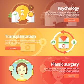 Conjunto de medicina e saúde. sexologia. transplantação. doação de órgãos. anaplastia. cirurgia plástica. ilustrações modernas. banners horizontais.