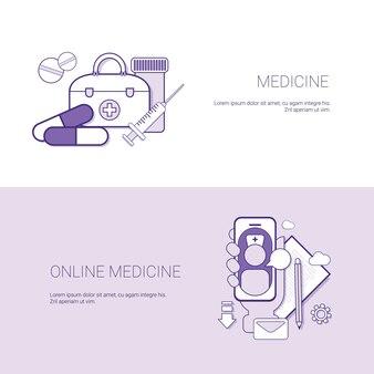 Conjunto de medicina on-line banners negócios conceito modelo fundo com cópia espaço