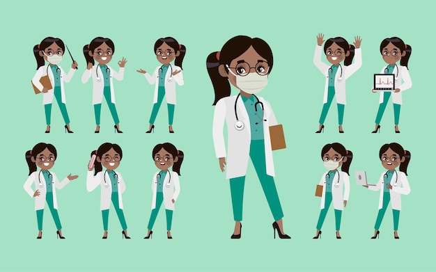 Conjunto de médico com diferentes poses.