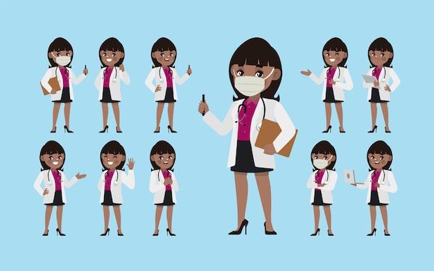 Conjunto de médico com diferentes poses