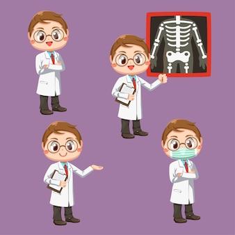Conjunto de médico com estetoscópio e paciente com filme de raio-x, em personagem de desenho animado, ilustração plana isolada