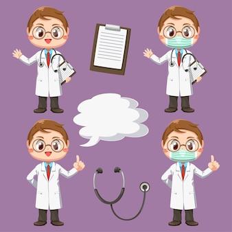 Conjunto de médico com estetoscópio em personagem de desenho animado, ilustração plana isolada