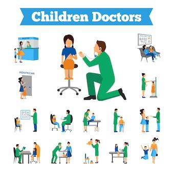 Conjunto de médico de crianças