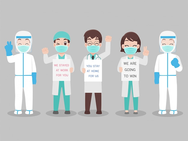 Conjunto de médico em traje de proteção individual usar uma máscara médica de proteção cirúrgica para prevenir vírus
