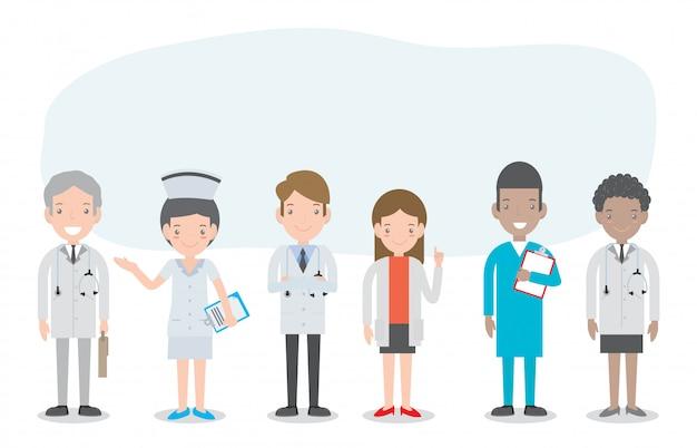 Conjunto de médico, enfermeiros, pessoal de medicina em estilo simples, isolado no branco. a equipe de funcionários médicos do hospital doutores enfermeiros cirurgião, grupo de médicos e enfermeiros e ilustração da equipe médica.