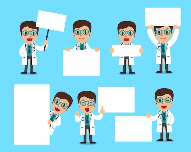 Conjunto de médico masculino com quadro em branco