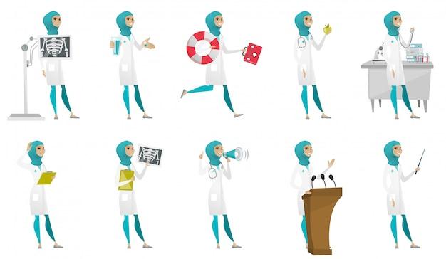 Conjunto de médico muçulmano