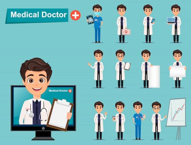 Conjunto de médico. personagem de desenho bonito.