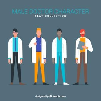 Conjunto de médicos com casaco branco