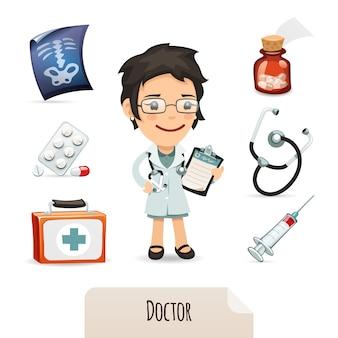 Conjunto de médicos com uma médica