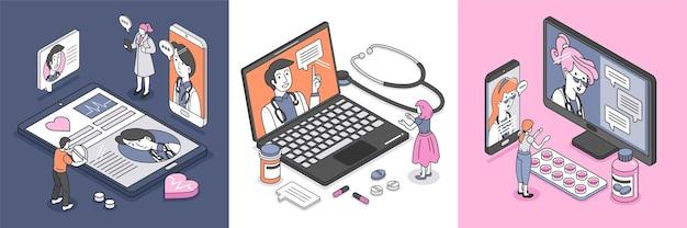 Conjunto de médicos dando composições de remédios on-line