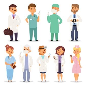 Conjunto de médicos diferentes médicos.