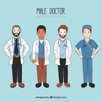 Conjunto de médicos do sexo masculino legal