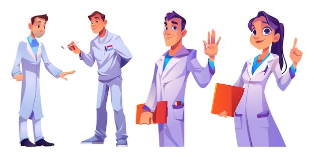 Conjunto de médicos e enfermeiras para equipe de saúde hospitalar