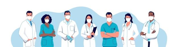 Conjunto de médicos e enfermeiras usando máscara cirúrgica, personagens médicos masculinos e femininos.