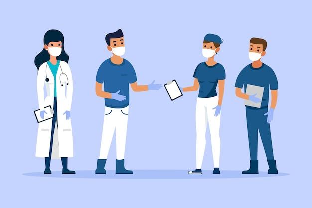 Conjunto de médicos e enfermeiros