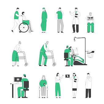 Conjunto de médicos e pacientes isolados em fundo branco
