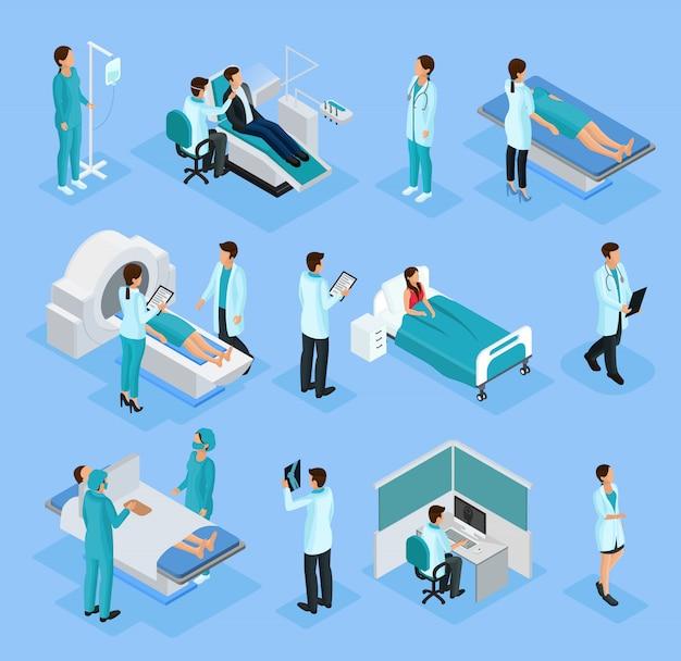 Conjunto de médicos e pacientes isométricos