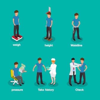 Conjunto de médicos isométricos