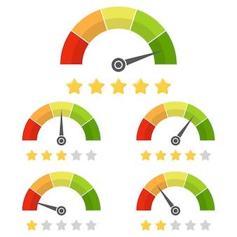 Conjunto de medidor de satisfação do cliente com a classificação por estrelas.