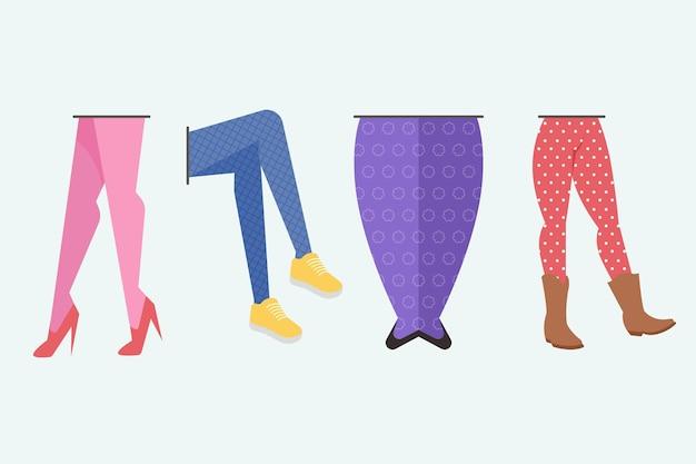 Conjunto de meia-calça de design plano
