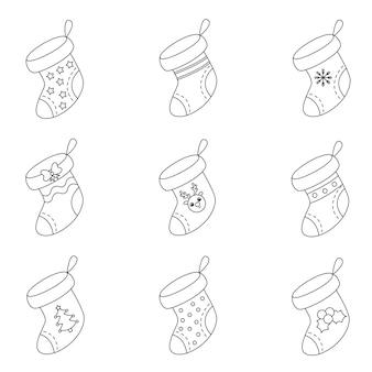Conjunto de meias de natal preto e branco. coleção de ilustrações.