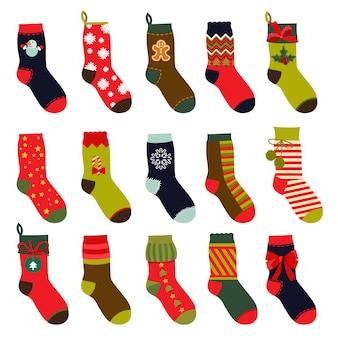 Conjunto de meias de natal.