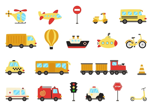 Conjunto de meios de transporte em estilo simples. arrecadação de transportes.