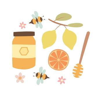 Conjunto de mel com abelhas