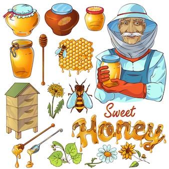 Conjunto de mel de mão desenhada