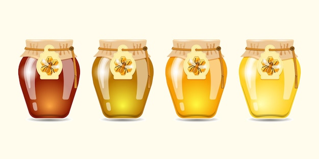 Conjunto de mel de tipos diferentes. ilustração vetorial.