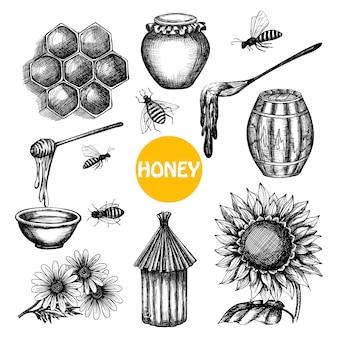 Conjunto de mel doodle desenhado de mão negra