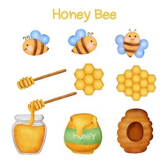 Conjunto de mel e abelhas em aquarela.