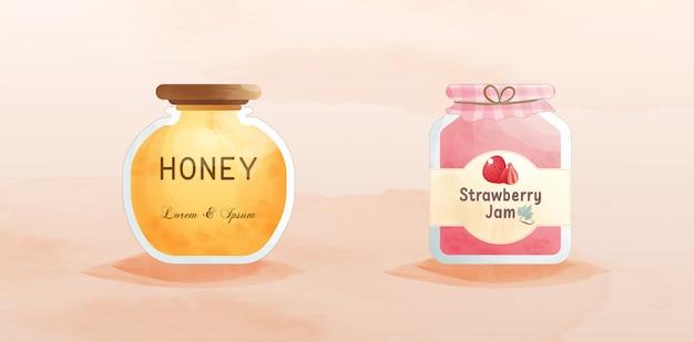 Conjunto de mel e pote de geléia de frutas.