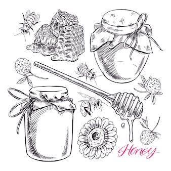 Conjunto de mel preto e branco bonito. potes de mel, abelhas e favos de mel.