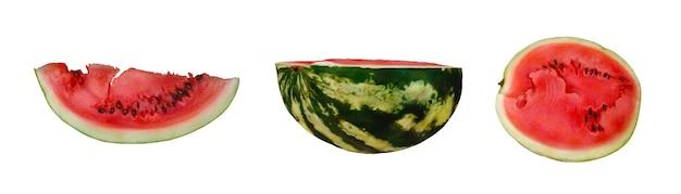 Conjunto de melancia cortada em aquarela inteira