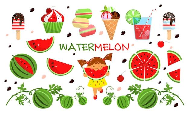 Conjunto de melancia fatias de melancia, sorvete de suco, queque menina com melancia etc.