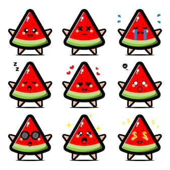 Conjunto de melancia fofa com personagem de desenho animado de expressão